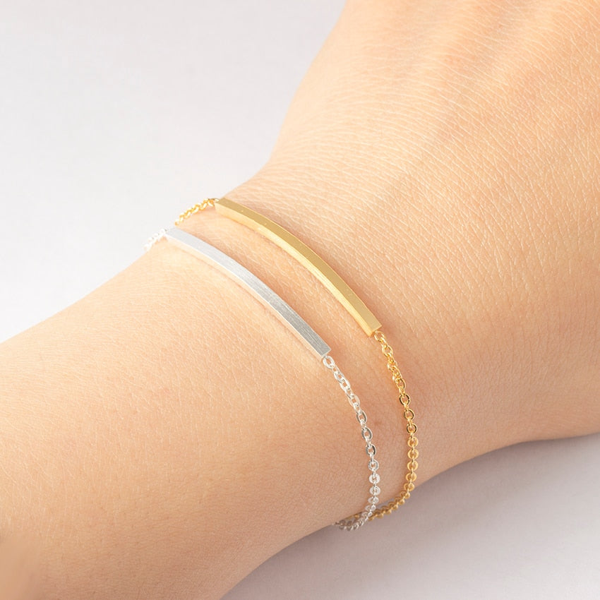 Thin Sideway Strip Bar Simple Bracelets
