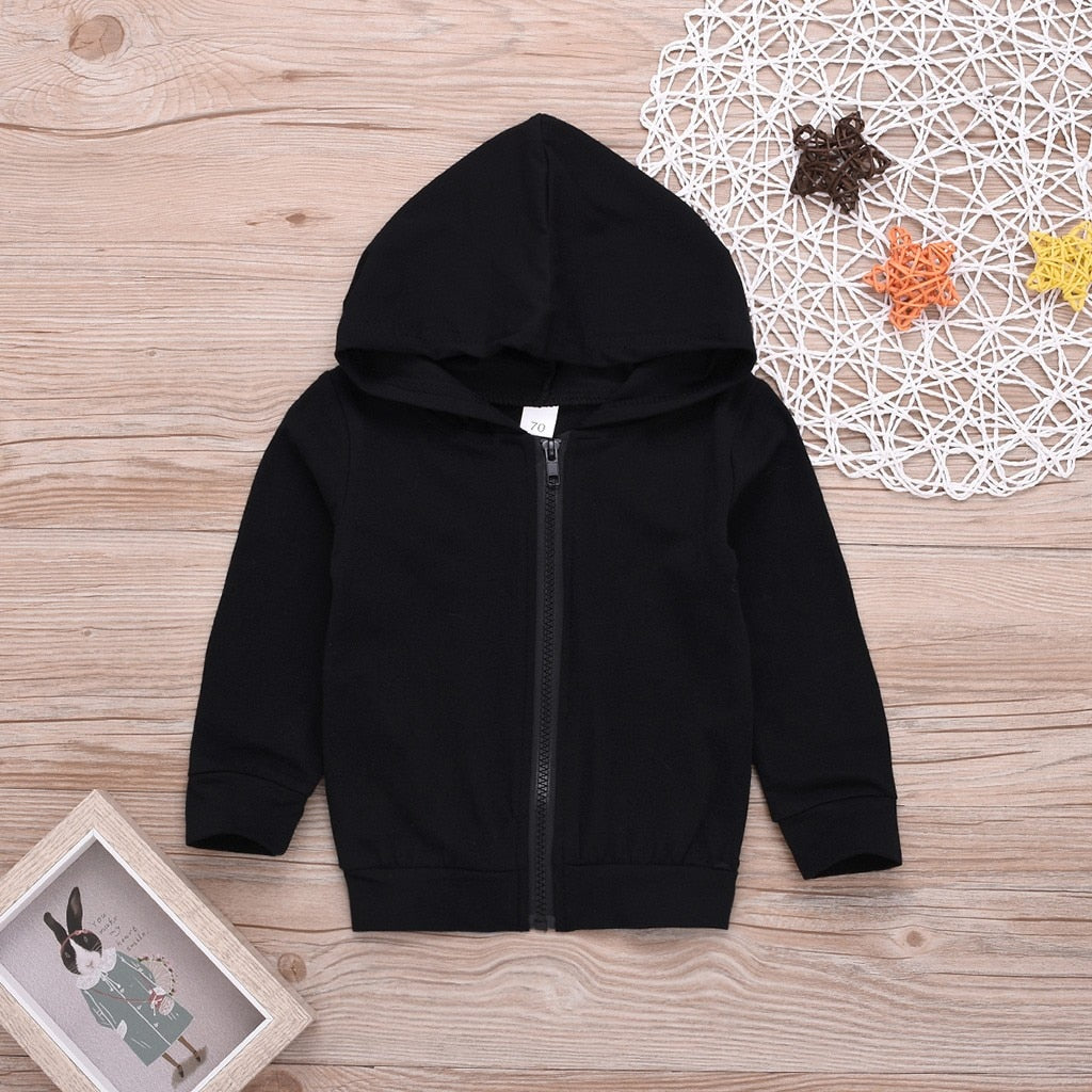 Toddler Kids Baby Boys Girls Long Sleeve Zipper Letter Hooded Sweatshirt