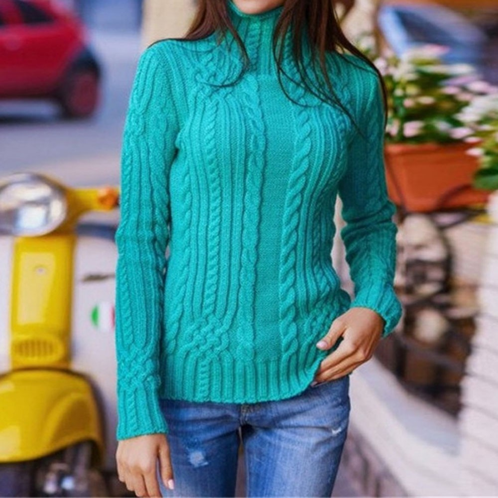 Women Long Sleeve High Collar Pullover Sweater