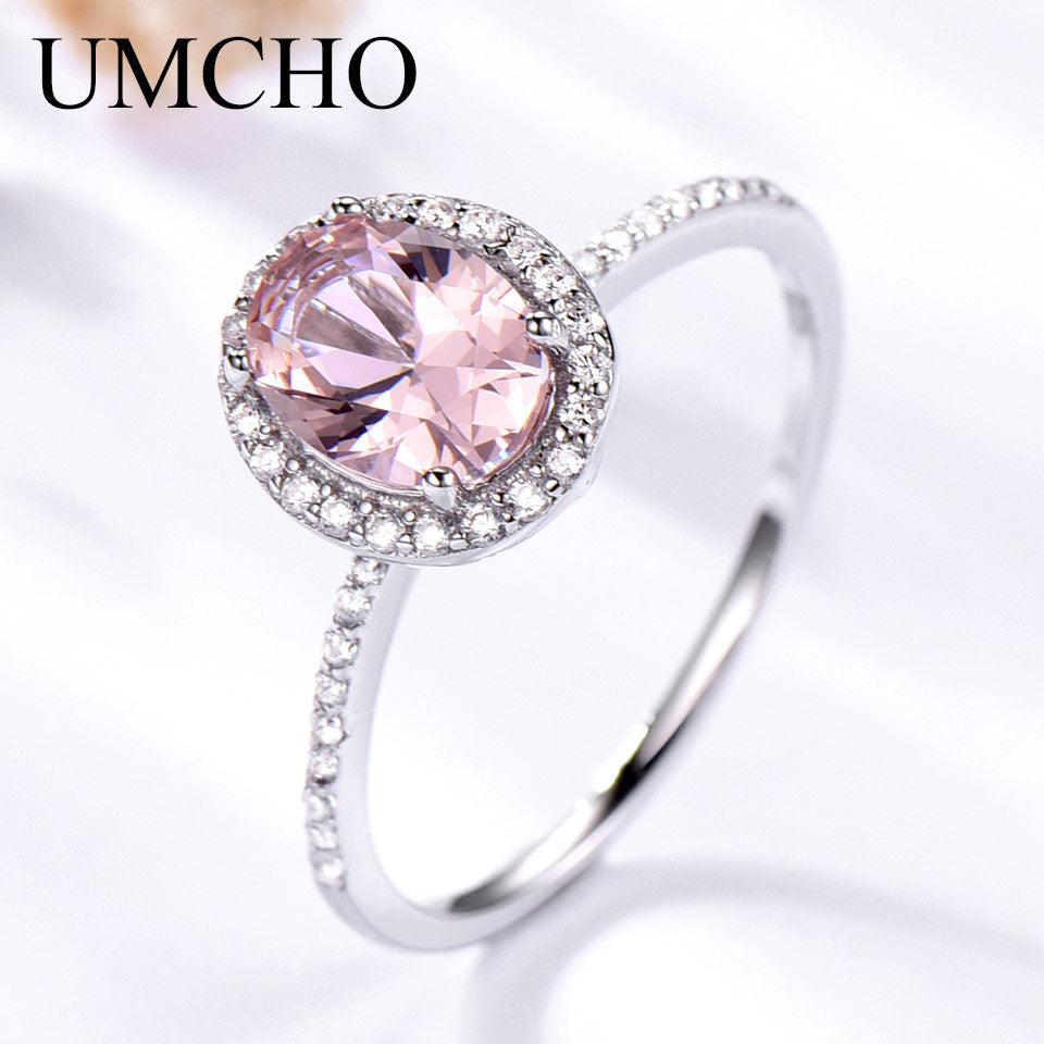 Luxury Created Oval Pink Sapphire Rings Real 925 Sterling Silver Rings