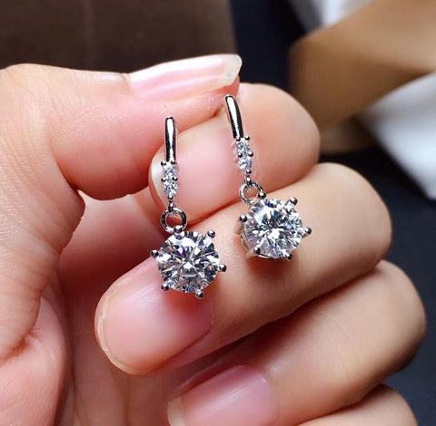 Authentic 925 Sterling Silver Diamond Jewelry Earrings