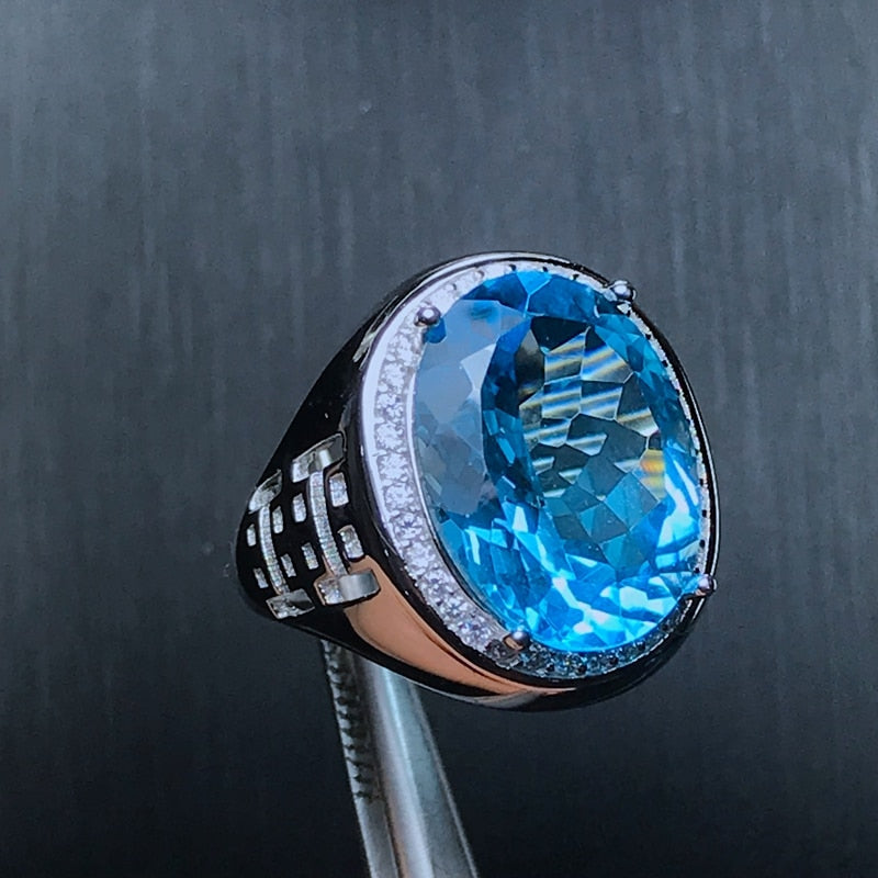 Natural Big Blue Topaz Men's Ring