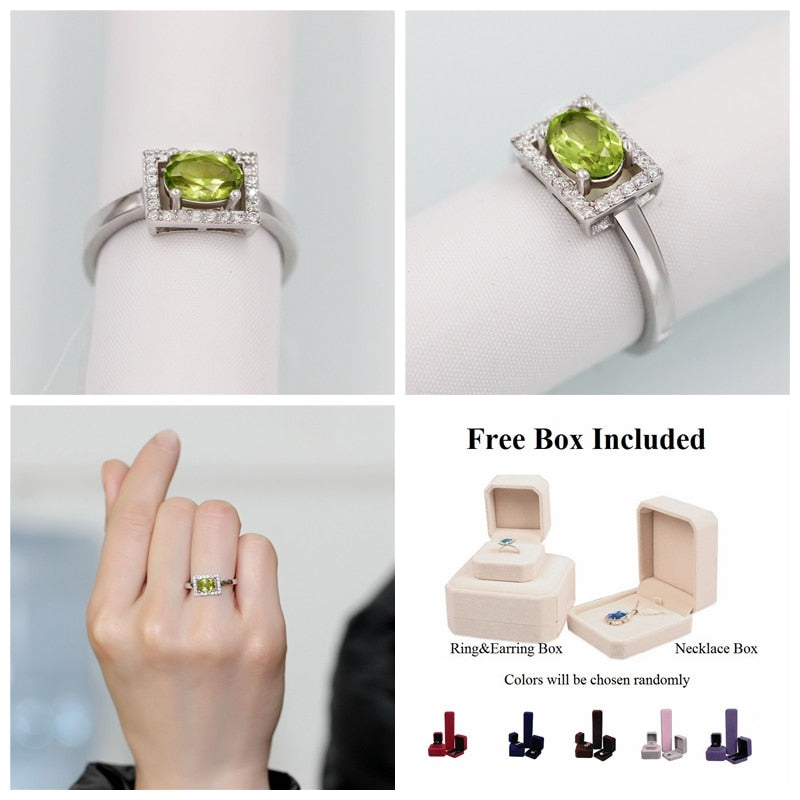 1ct Peridot Ring 925 Sterling Silver Wedding Rings for Women