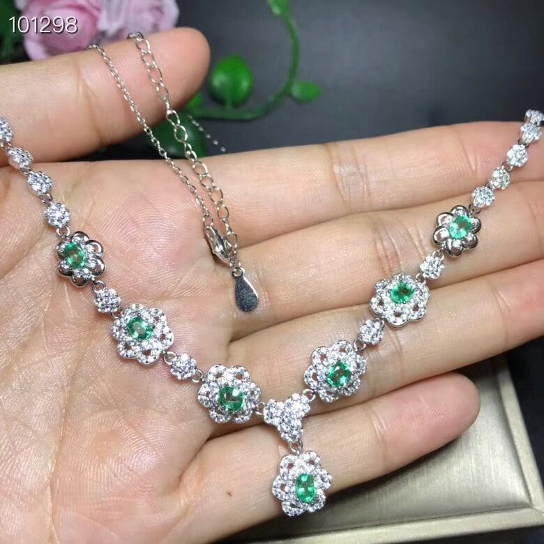 Green Emerald Flower Pendant Necklace for Women