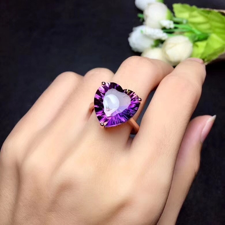 Simple Heart shaped Gemstone Natural Amethyst Lady Ring