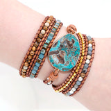 Unique Mixed Natural Stones Gilded Stone Charm 5 Strands Wrap Bracelets