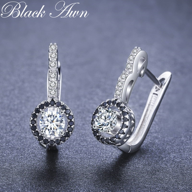 Vintage Genuine 925 Sterling Silver Engagement Hoop Earrings for Women