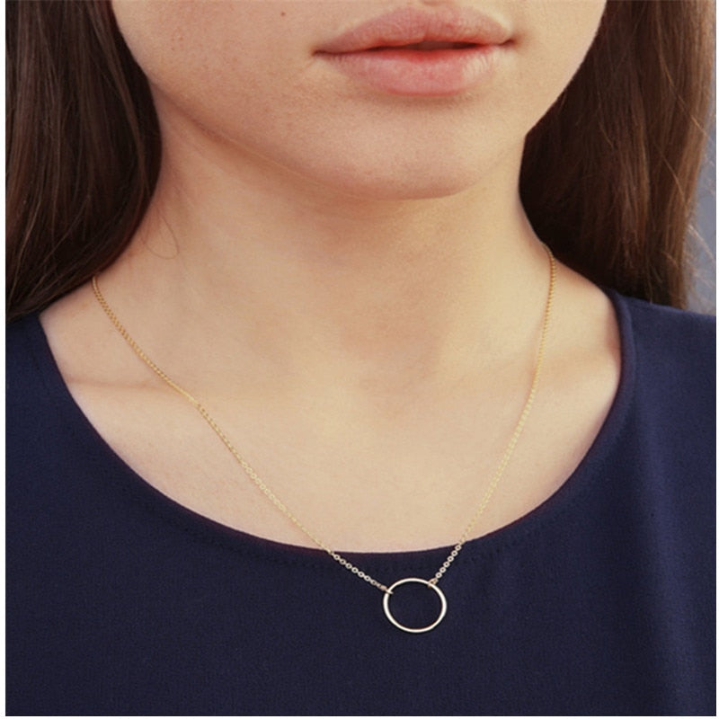 Vintage Minimal Circle Necklace For Women