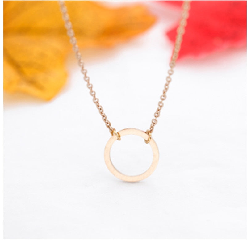 Vintage Minimal Dainty Circle Necklace For Women