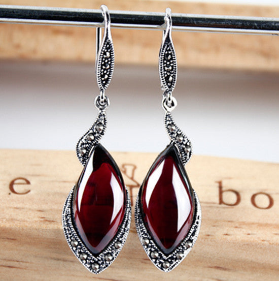 Vintage Silver Garnet Earrings
