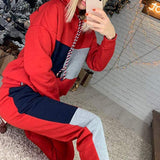 Women Patchwork Hooded Sweatshirt And Pant Tracksuit