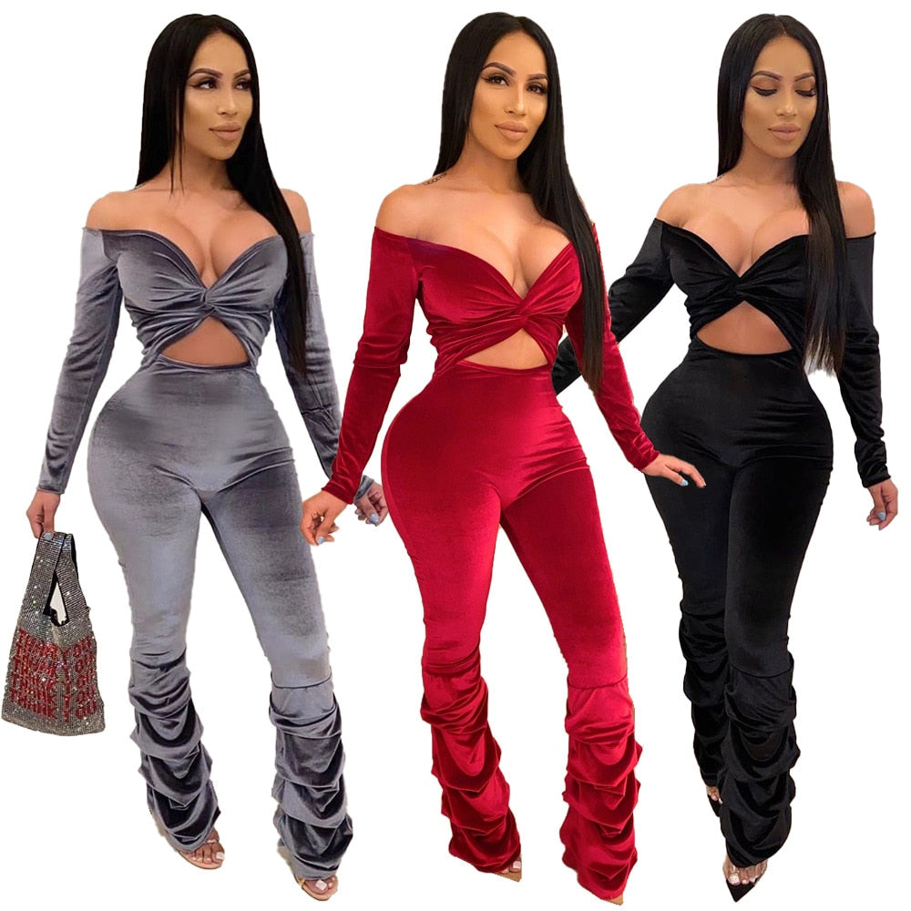 Women Long Sleeve Elegant Night Party Jumpsuit