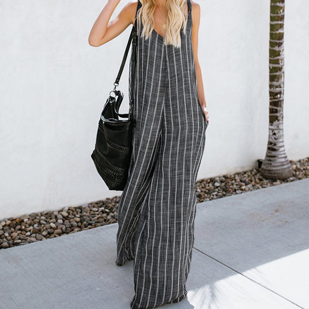 Women's Sleeveless V Neck Long Jumpsuit