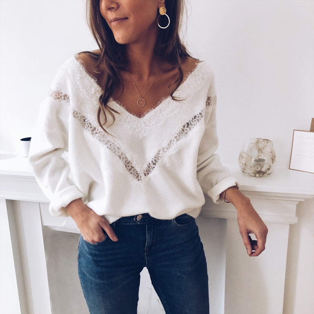 Lace Slim Long Sleeve Hollow Sweater