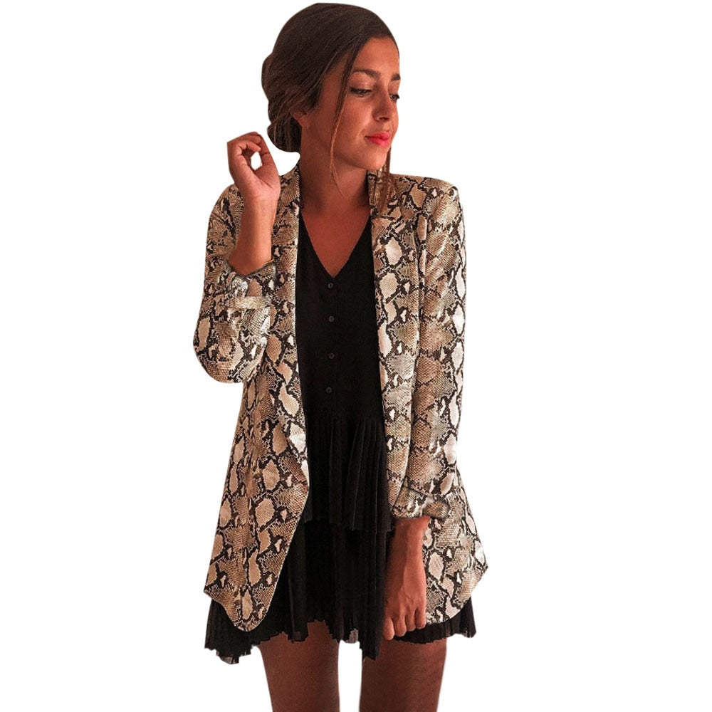 Snake Print Long Sleeve Women's Blazers