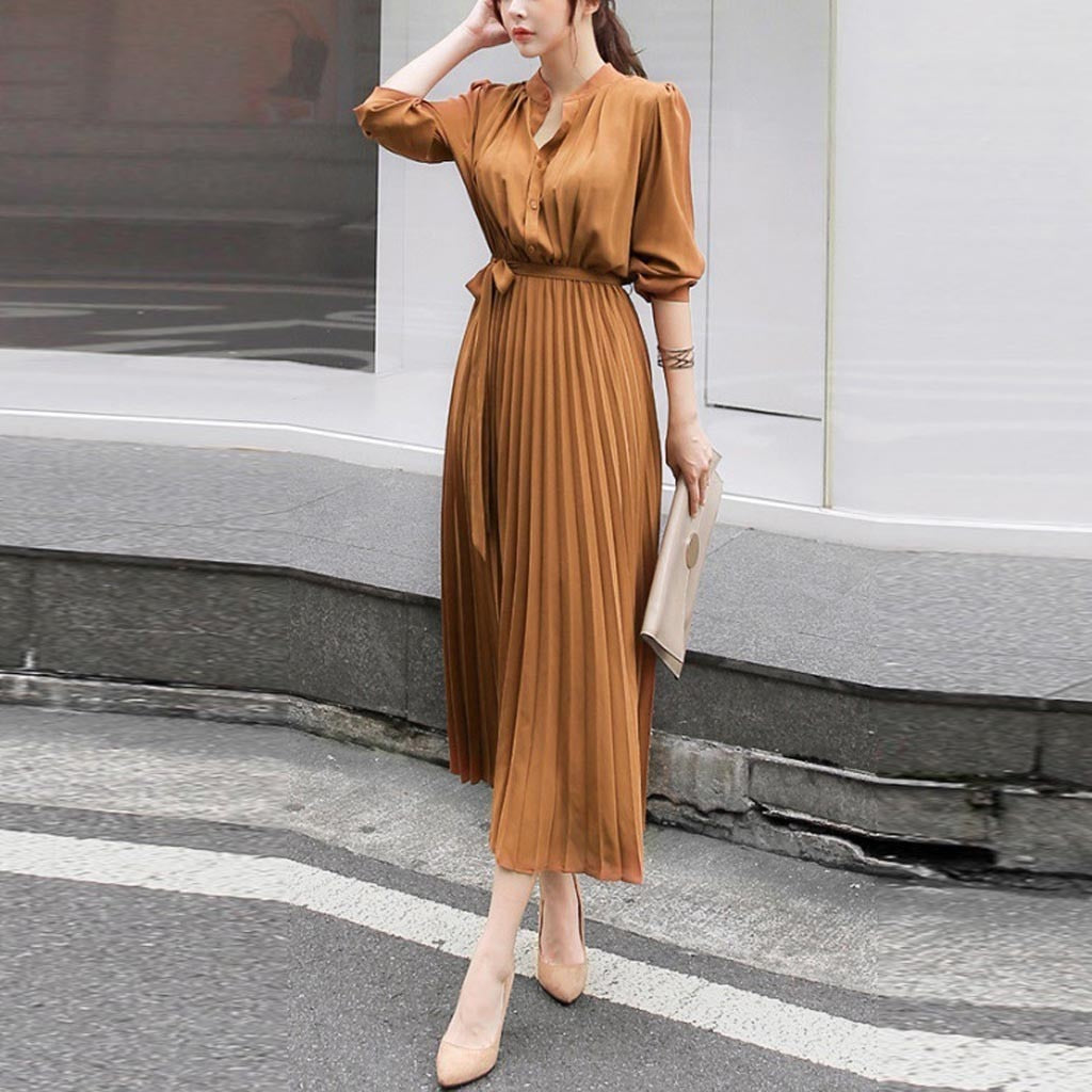 Women Casual Dresses Solid O neck Dress