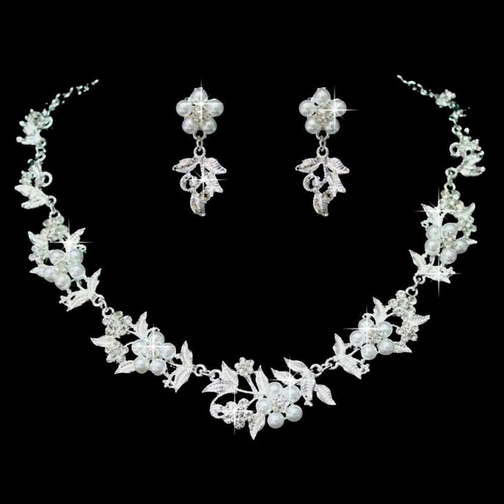 Women Elegant Simulated Pearl Bridal Jewelry Sets