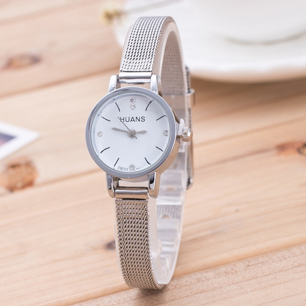 Women Silver Stainless Steel Mesh Band Wrist Watch