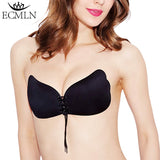 Women Self Adhesive Strapless Bandage Blackless Solid Bra