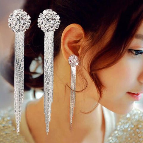Luxury diamonds long exaggerated temperament elegant tassel earrings