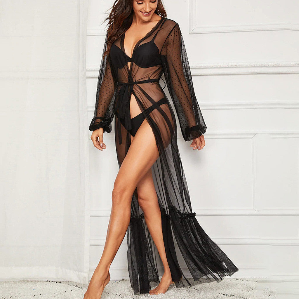 Women Mesh Bathrobe Lingerie  Long Sleeve Black Long Dress