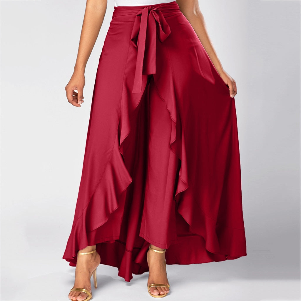 Women Front Overlay Pants Ruffle Skirt