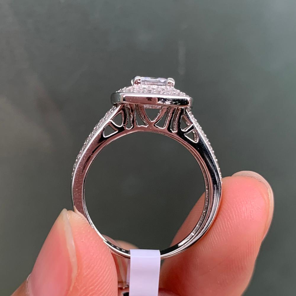 2.26 Ct Princess Cut White Zircon 925 Sterling Silver Wedding Rings