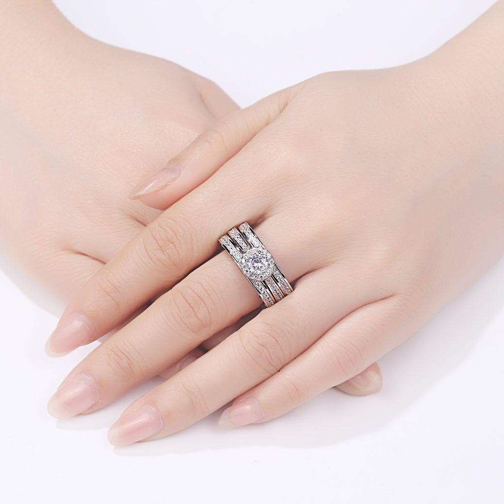 3 Pcs 925 Sterling Silver Wedding Rings For Women  2.4 Ct Round AAA Zircon Classic Jewelry