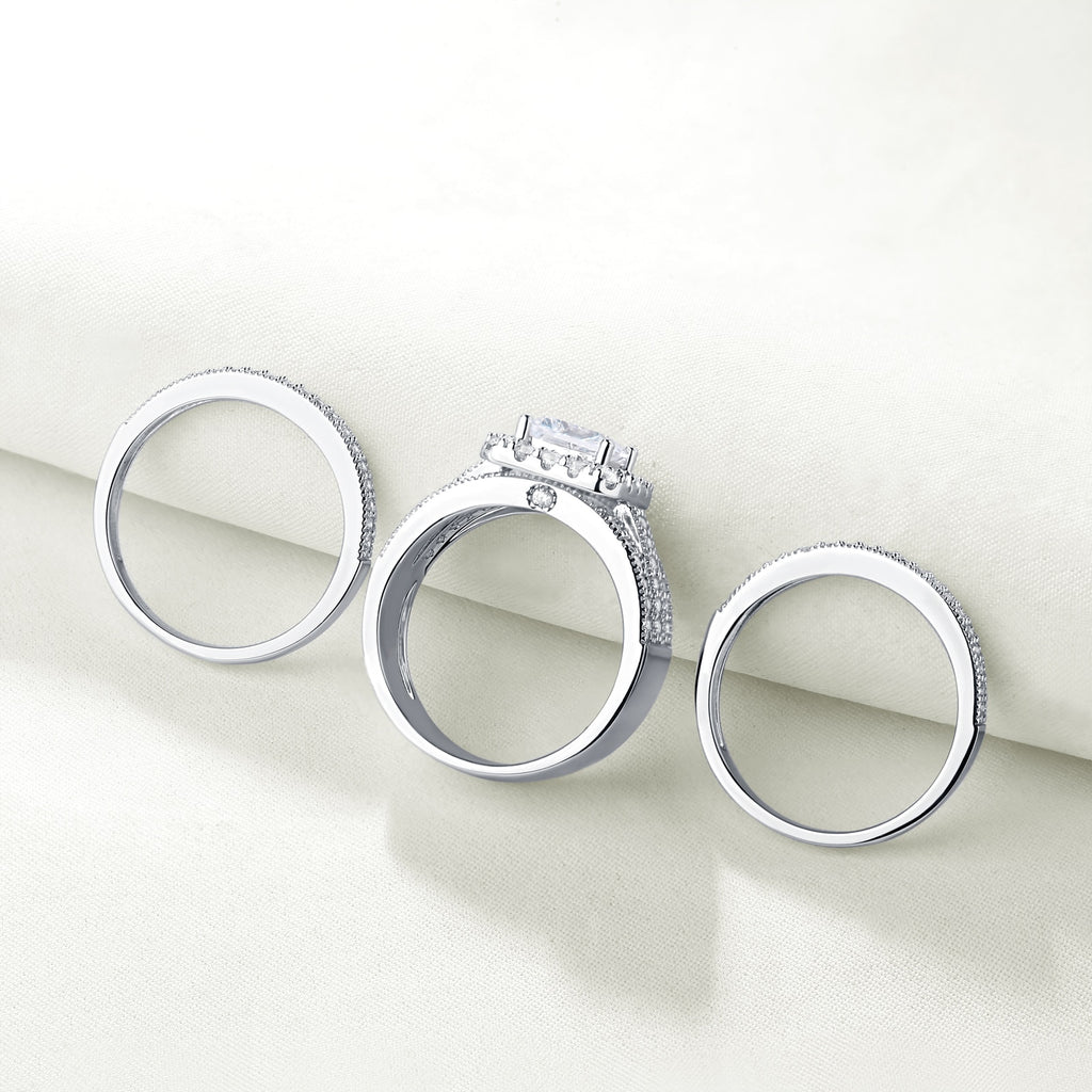 Women's 3Pcs Bold 925 Sterling Silver Engagement Rings