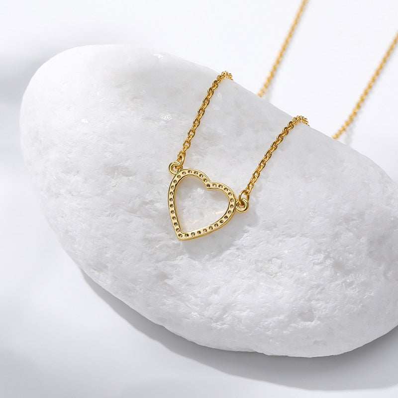 Zircon Hollow Heart Necklaces Pendants For Women