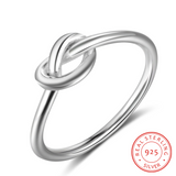 Genuine 925 Sterling Silver Knot Rings for Women