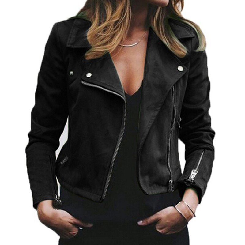 lapel diagonal zipper short Women's Jacket