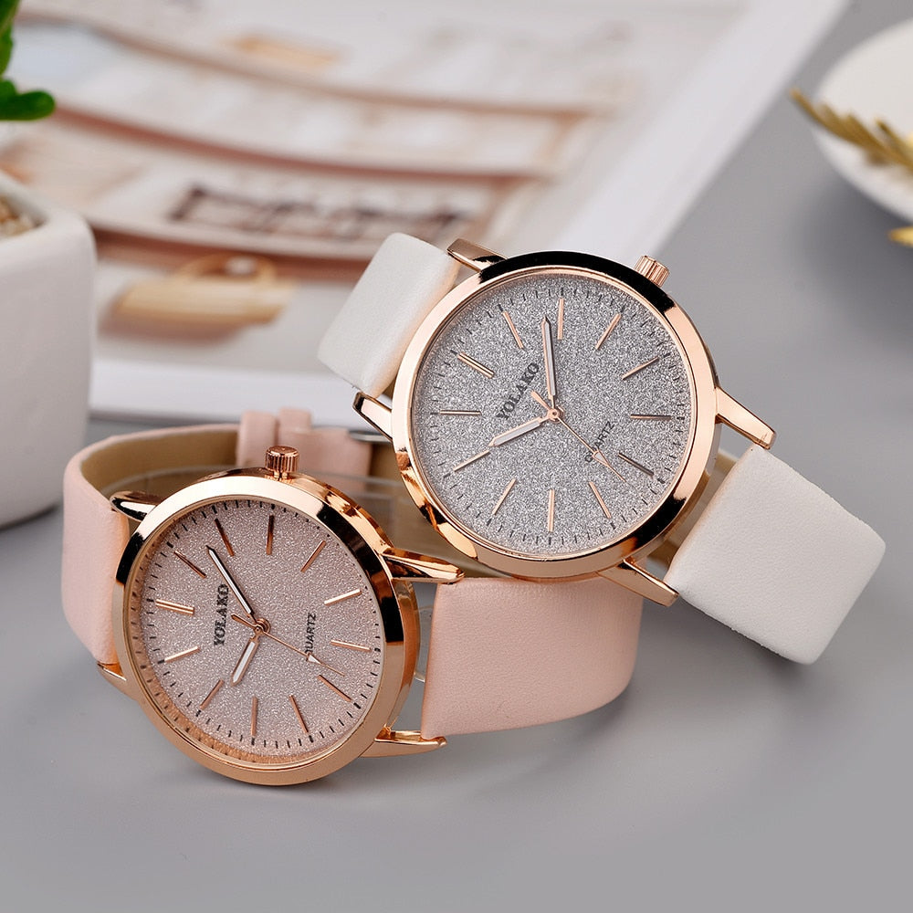 Woman Casual Quartz Leather Band Analog women clock