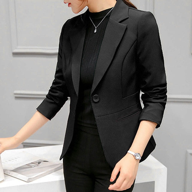 Long Sleeve Solid One Button Women's Blazers
