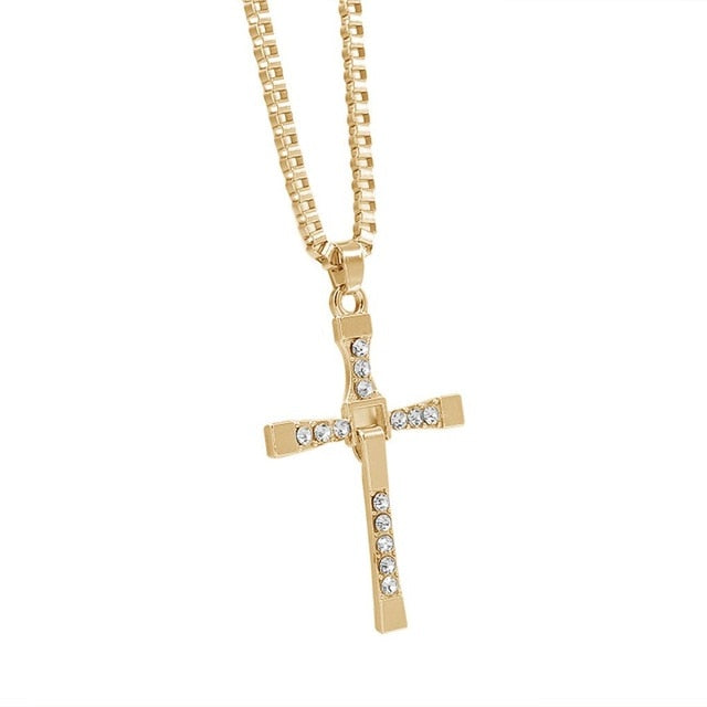 Gold Silver Plated Crystal Zircon Cross Pendant Necklace