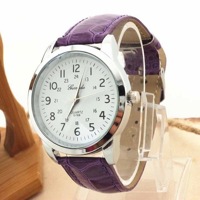 Women Elegant Analog Luxury Sports Leather Strap Quartz  Watch