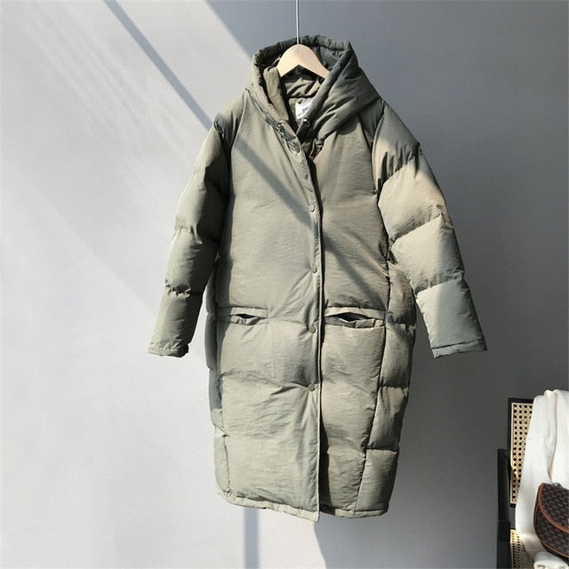 Lazy Casual Loose Long Hooded Padded Women's Parkas