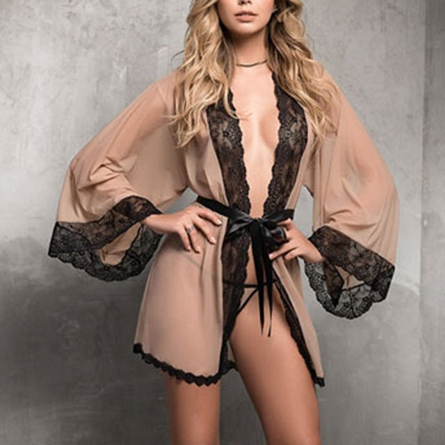 Mesh Large Size Women's Lace Robe