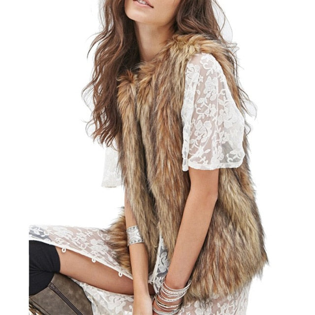 Women Mixed Fur Vest Jacket