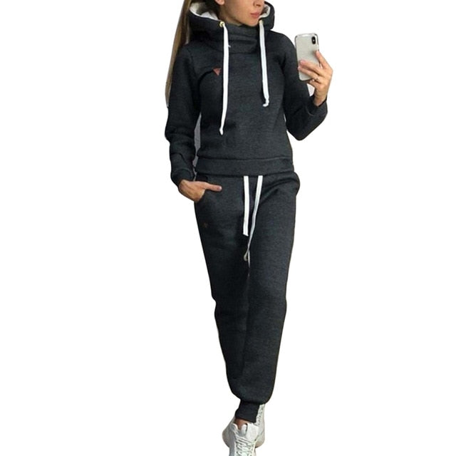Fashion Casual Long Sleeve Hoodies And Pants 2 Piece Set