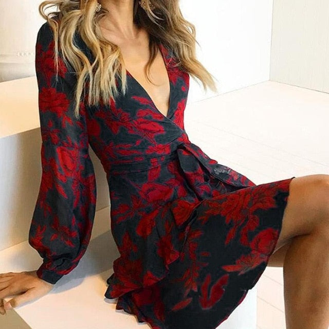 Women fashion Printing Ruffles Long Sleeve V Neck Dress