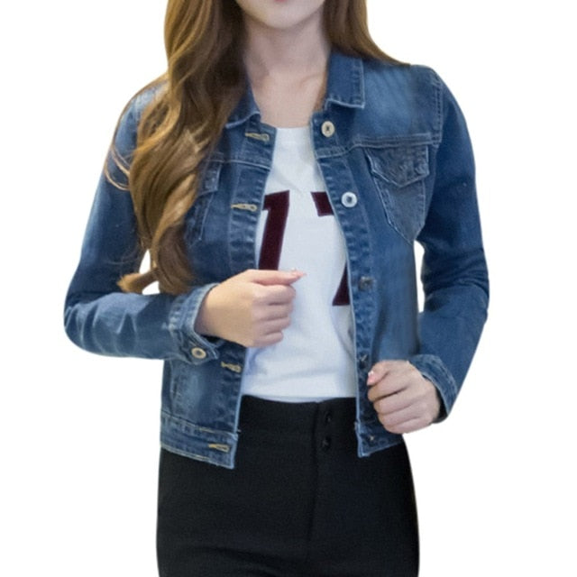 Wash Long Sleeve Vintage Casual Women's Jacket