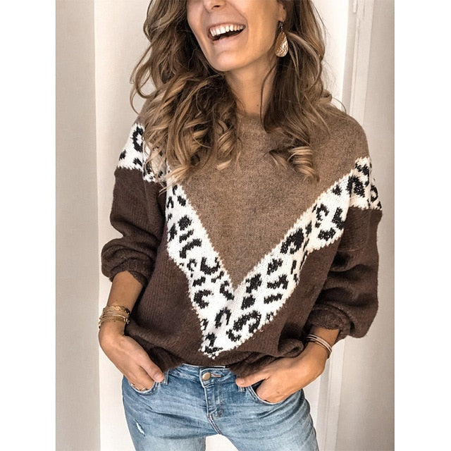 Women Leopard Print Loose Long Sleeve Sweaters