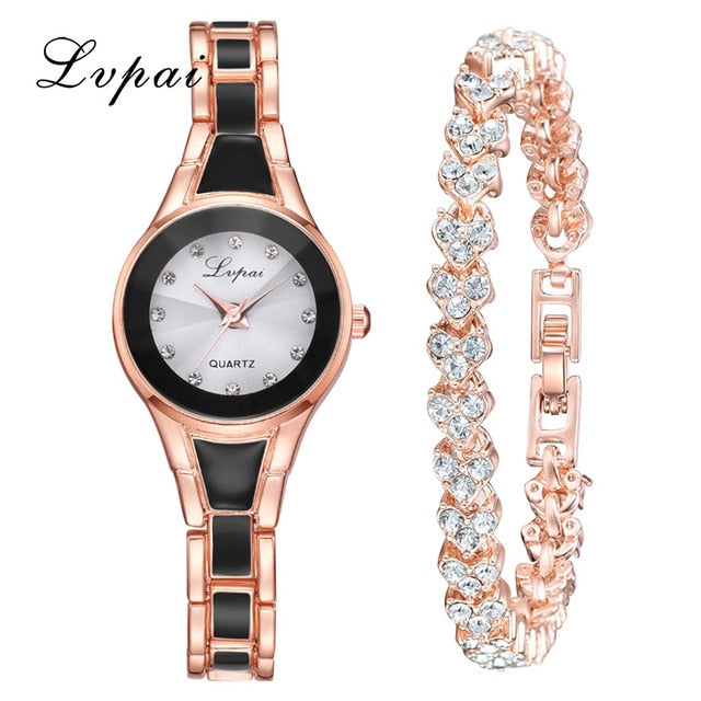 2pcs/Set Fashion Simple Dial Convex Glass Watch