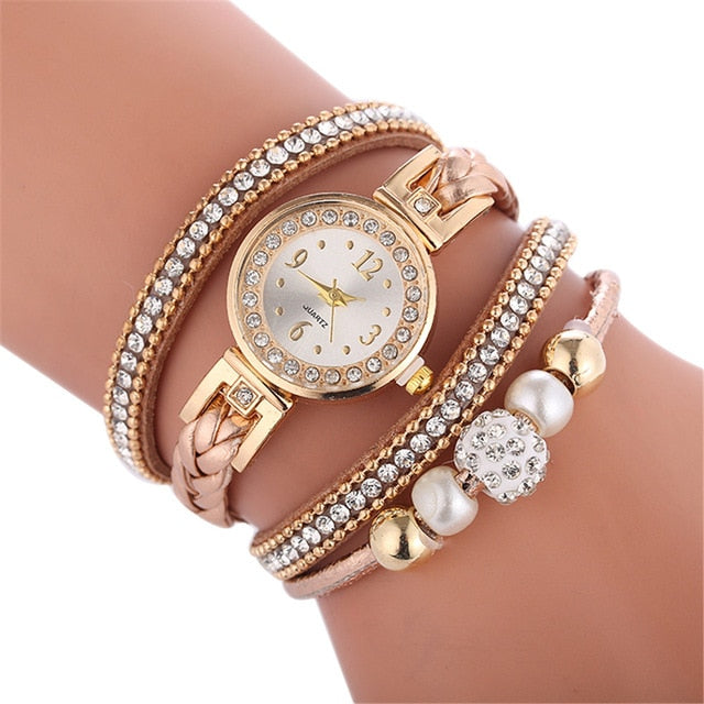 Fashion circle hand round dial bracelet watch