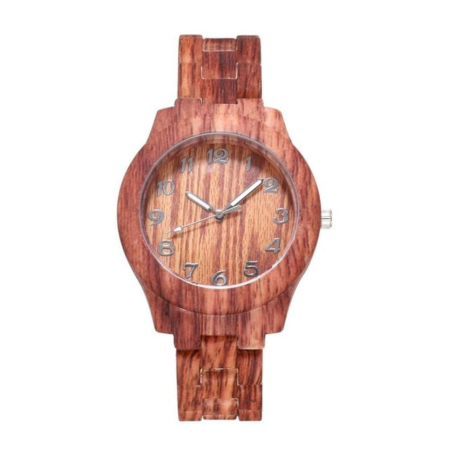 Wooden Mesh Belt Analog Quartz Wristwatch
