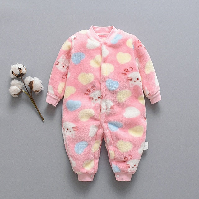 Newborn Infant Baby Cartoon Bear Fleece Warm Romper