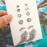 6 Piece Leaves Pearl Tassel Combination Jewelry Stud Earrings