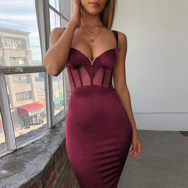 Mesh Insert Women Bandage Dress