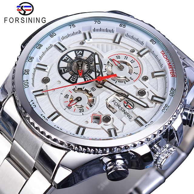 Three Dial Calendar Stainless Steel Men Mechanical Automatic Wrist Watch